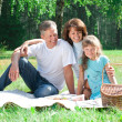 Happy family having picnic - 图库照片