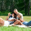 Happy family having picnic — Stockfoto