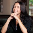 Business woman sitting in a cafe — Stock Photo