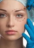 Face before plastic surgery operation — Stock Photo