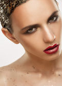 Woman with creative makeup — Stock Photo
