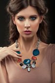 Woman with beautiful necklace — Stock Photo