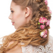 图库照片: Womwith hairstyle