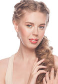 Woman with hairstyle tress — Stock Photo