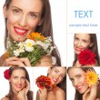 Women with colorful flowers — Stock Photo