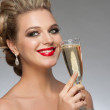 Woman with glass of champagne — Stock Photo #36633975