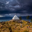 Religious building on the island of Lake Baikal — Stock Photo