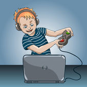 Boy with laptop — Stock Vector