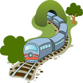 Train and tunnel — Stock Vector