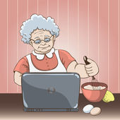 Granny with laptop — Stock Vector