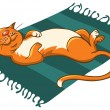 Cat on a mat — Stock Vector
