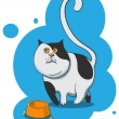 Cat with a bowl — Stock Vector