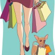 Shopping with dog — Stock Vector