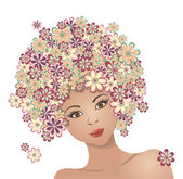 The girl with hair of flowers — Stock Vector