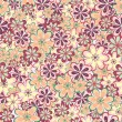 Leaves and flowers seamless pattern — Stock Vector