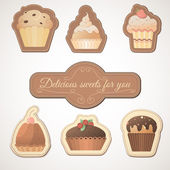 Delicious sweets: a set of cards with muffins — Stok Vektör