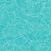 Seamless pattern of fine sea shells — Stock Vector