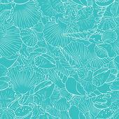 Seamless pattern of fine sea shells — Stock Vector