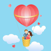 Happy lovers in a balloon — Stock Vector