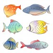Set of  bright fish - Stock Vector