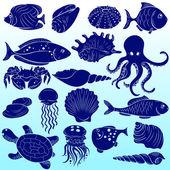 Sea inhabitants — Stock Vector
