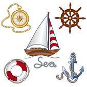 Set of nautical objekts — Stock Vector