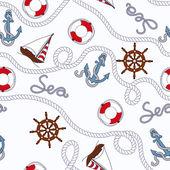 White marine seamless pattern — Stock Vector