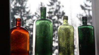 Set of colored wine bottles — Stock Video