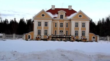 The view of a big old manor house in Estonia Baltic — Stock Video