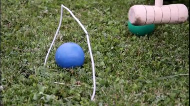 Playing croquet — Stock Video