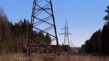 Two electricity tower in the forest — 图库视频影像