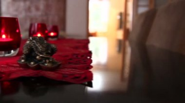 Three candles in red glass — Vídeo de Stock