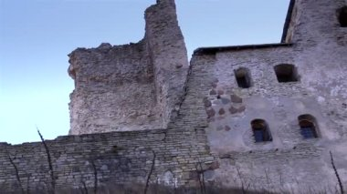 The stoned wall of the old castle — Stock Video