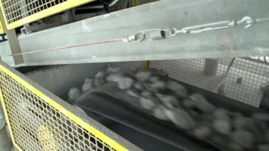 Limestones dropping in a conveyor — Stock Video