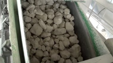 Lots of limestones from a conveyor — Stock Video