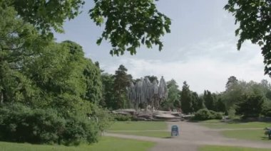 A park from Helsinki Finland with a monument FS700 Odyssey 7Q — Stock Video