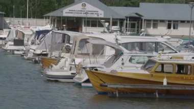 White yachts on dock FS700 Odyssey 7Q — Stock Video