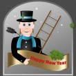 New Year greetings form chimney-sweep — Stock Vector