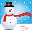 Christmas gift Card with snowman — Stock Vector