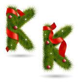 Christmas-related decorative alphabet — Stock Vector