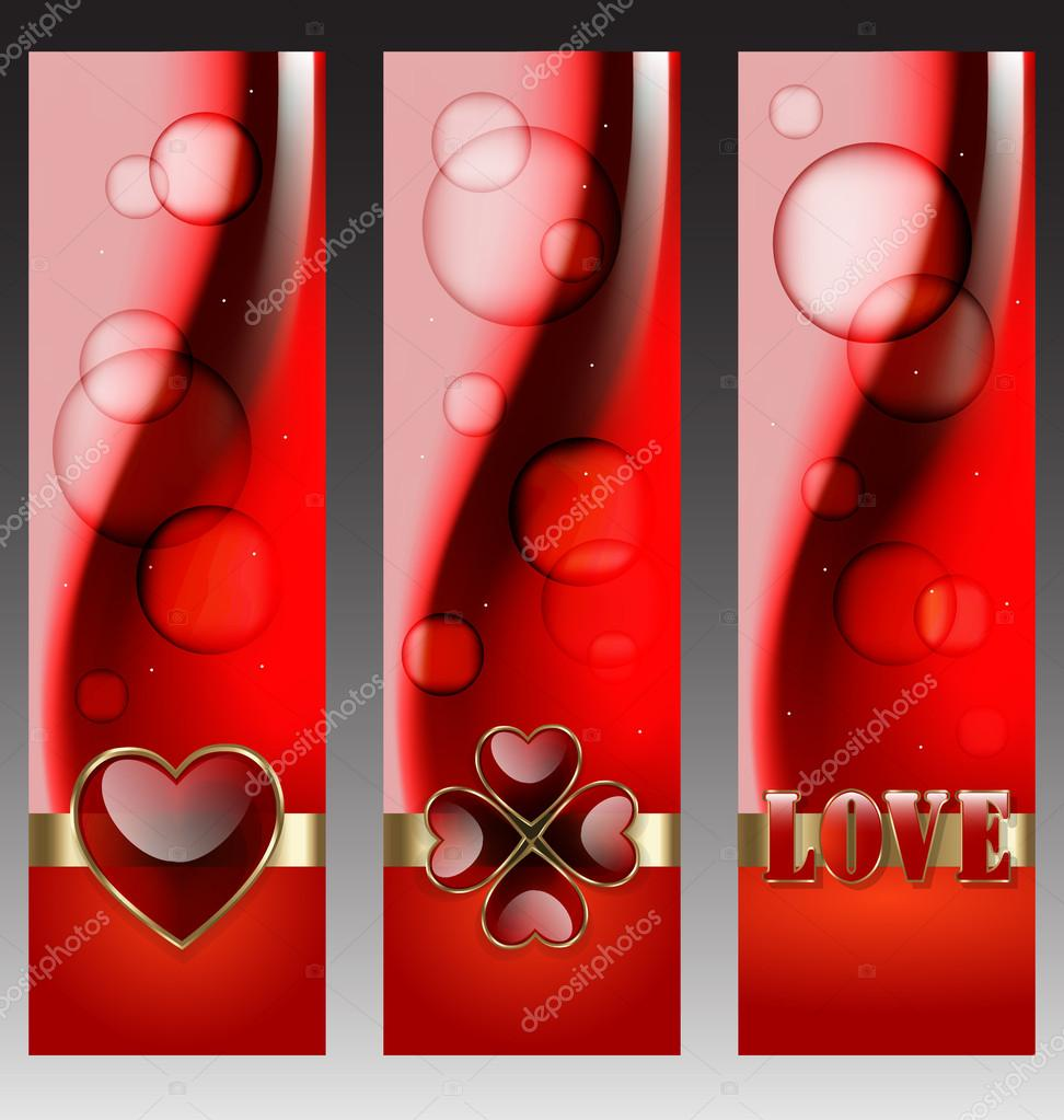 	Decorative and elegant set of Valentines day celebration banners  Stock Vector #18838577