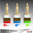 Wooden paintbrush vector illustartion set — Stock Vector