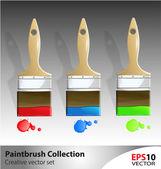 Wooden paintbrush vector illustartion set — Stock Vector