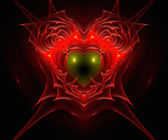 Heart in fire. Computer generated fractal artwork. — Stock Photo