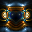 Aztec heart. Computergenerated fractal artwork. — Stock Photo