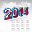 Stock Vector: New year 2014 calendar