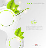 Green leaves ecology background — Stock Vector