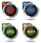 Elegant file type icon set — Stock Photo