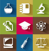 Set of science and education flat icons — Stock Vector