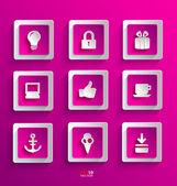 Reihe von flachen Papier-icons — Stockvektor